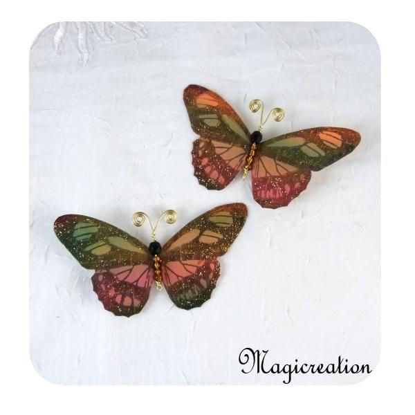 PINCES RIDEAUX PAPILLONS MULTICOLORES ref 1506 - Boutique www.magicreation.fr