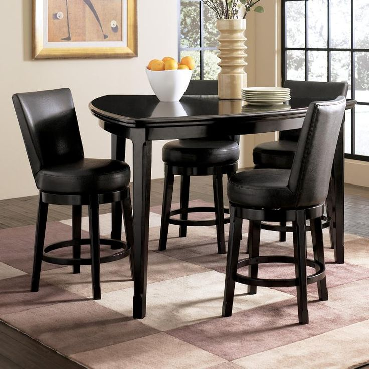 Emory 5-piece Triangle Counter Height Table With 4