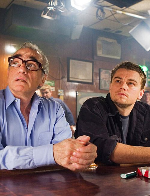 Martin Scorsese and Leonardo DiCaprio on the set of The Departed