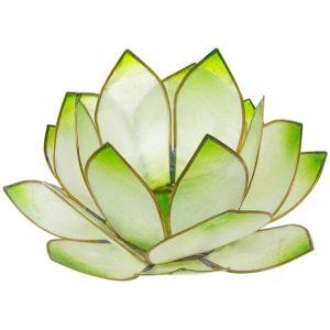 Bougeoir forme lotus du soleil levant couleur Vert pour bougies chauffe-plat, disponible en boutique
