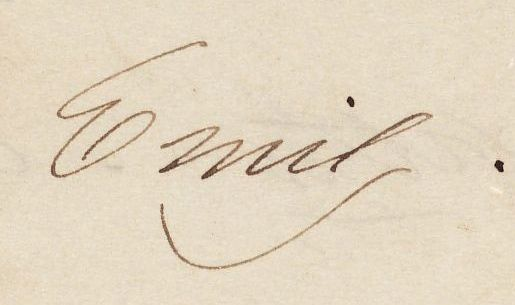 Signature from Emily Dickinson. Note and poems sent to Susan Dickinson, [early 1862] MS Am 1118.5 (B44). Gift, Gilbert H. Montague, 1950.
