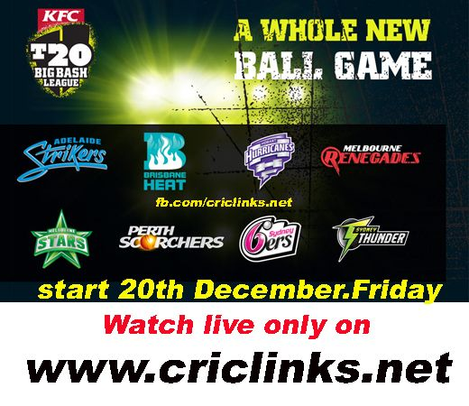 Kfc Big Bash will be start 20th December,Friday.Just as it did last season, the Big Melbourne Derby kicks off the third edition of the KFC T20 Big Bash League, with the Stars and Renegades facing off at the mighty Melbourne Cricket Ground - watch every Match live only on http://www.criclinks.net/