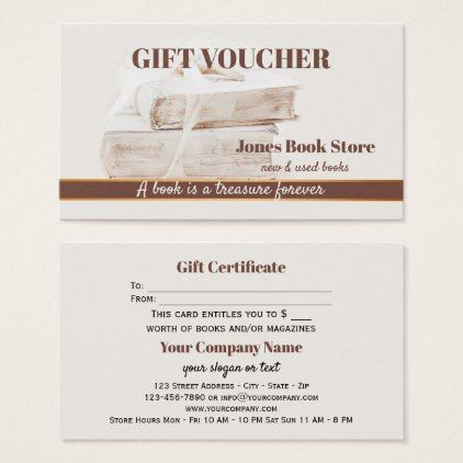 Second Hand and Used Books Gift Voucher Template Business Card - template gifts custom diy customize