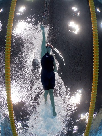 Rebecca Adlington of Great Britain competes in the women's 400m Freestyle heat 3 on Day 2 of the London 2012 Olympic Games at the Aquatics Centre on 29 July.