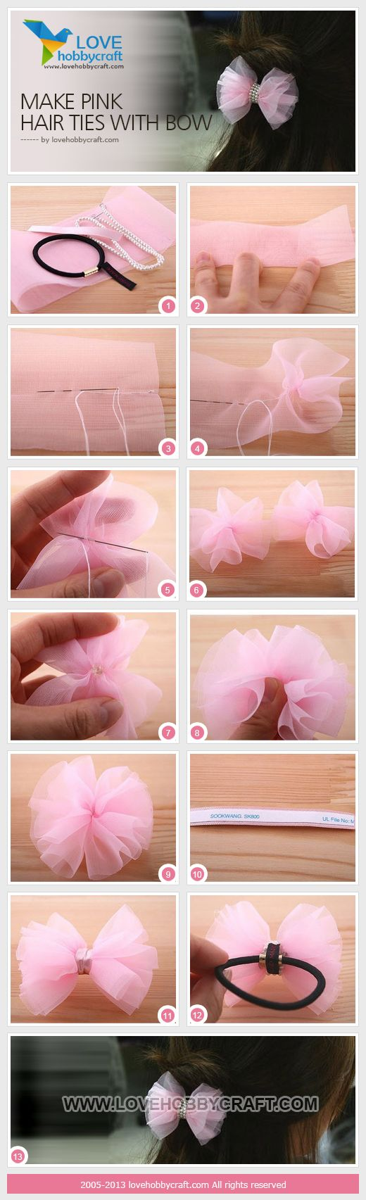 Make pink hair ties with bow