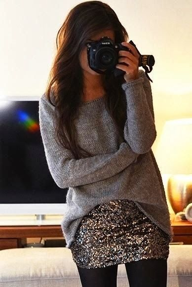 Oversized Sweater With Sequins Skirt and Leggings This will look cute for a more casual New Years outfit