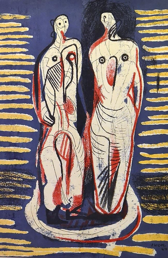 "thirdorgan: ""Henry Moore (UK, 1898 - 1986) Two Standing Figures 1949 """