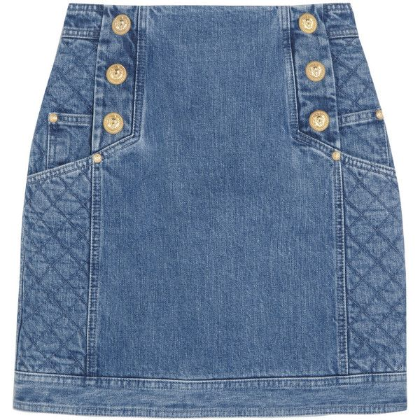 Balmain Paneled denim mini skirt found on Polyvore