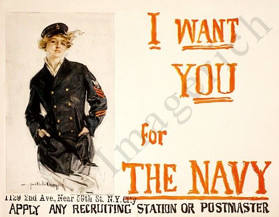 """""""I want you for the Navy"""" WWI poster https://www.etsy.com/listing/70078332/world-war-1-poster-i-want-you-for-the #MilitaryFashion #USNavy"""