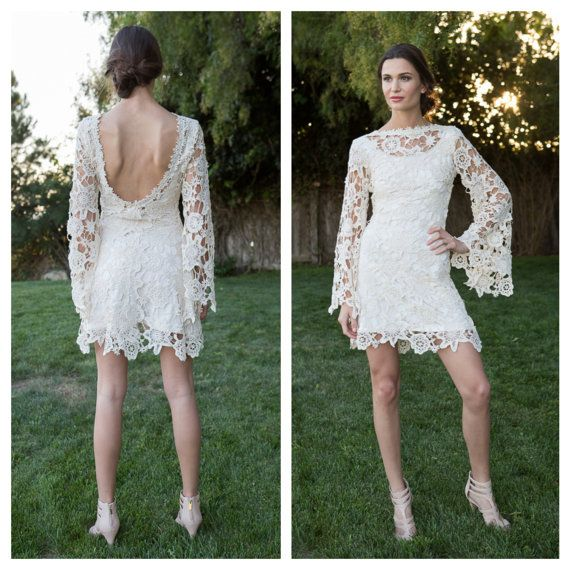 Lace mini dress bell sleeves