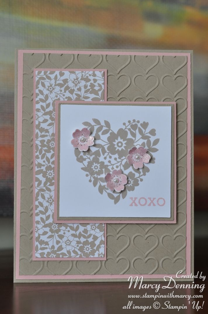 handmade love/Valentine card from Stampin' with Marcy ,,, lacy heart with a trio of shaped flowers ... soft pink and kraft with white ... Stampin' Up!
