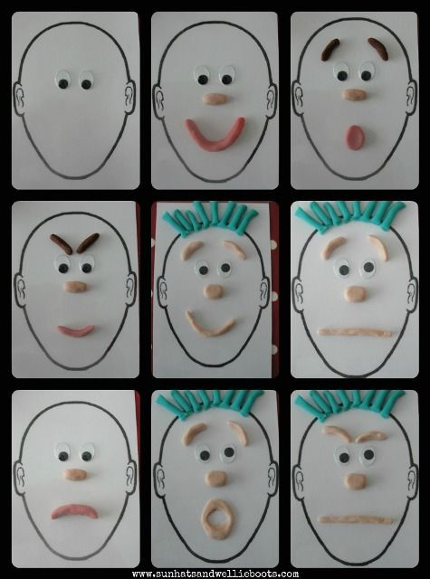 Play Dough Portraits: To explore play dough portraits in a slightly different way I printed off a few of these blank face templates (A5 size) & added a couple of googly eyes. These are great for recognising, naming, & positioning facial features, as well as exploring a variety of facial expressions & feelings/emotions.
