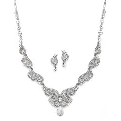 Scroll Art Deco Silver Necklace and Earring Set