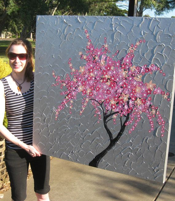 pink cherry blossom painting on large huge canvas by SheerJoy
