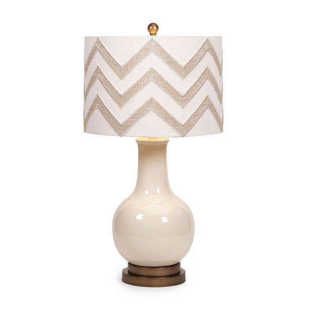 Hardy chevron shade table lamp brimming with modernity the chevron embellished drum shade enhances a bisque ceramic base to add nice glow to any room