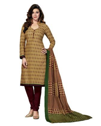 Drapes Women's Beige Cotton printed Dress Material  Dress Material- Printed Cotton Color : Beige Occasion: Casual wear Wash Care: Home Wash Care