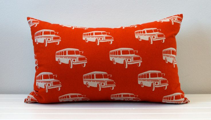 Little Dragon Orange and Natural School Bus Cushion  Size 55cm x 35cm  Add some colour and fun to your little ones room with this unique school bus cushion. The fabric is high quality 100% Cotton heavy weave for the patterned side, and plain natural 100% Linen on the reverse side.  Find it here! www.laurenunlimited.com.au  For custom orders, please contact me at lauren@laurenunlimited.com.au