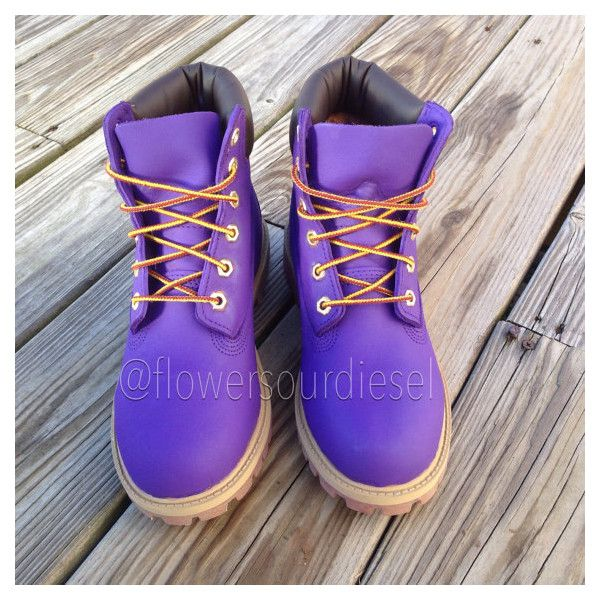 Purple Timberland Boots (Womens' Sizes) ($280) ❤ liked on Polyvore featuring shoes, boots, traction shoes, evening shoes, timberland shoes, rubber shoes and purple boots