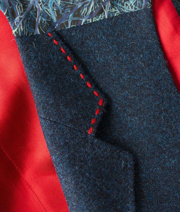 Men's Shetland Tweed Lapel Waistcoat| Navy