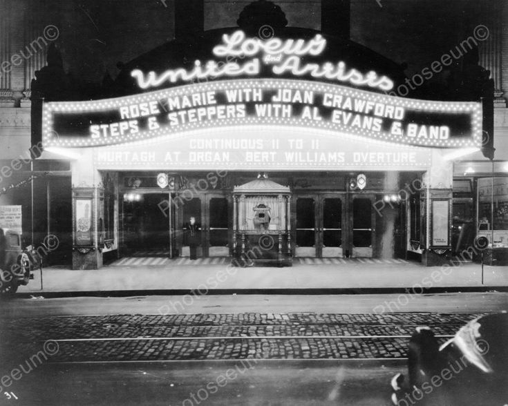 Loews And United Artists Movie Theatre 8x10 Reprint Of Old Photo Loews And United Artists Movie Theatre 8x10 Reprint Of Old Photo Here is a neat collectible featuring the vintage Loews movie theatre f