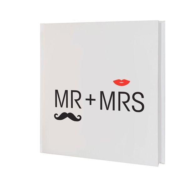 """Gästebuch oder Notizbuch zur Hochzeit im Retrostil mit Mr & Mrs Schriftzug, Schnurrbart """"Moustache"""" und Kussmund"""