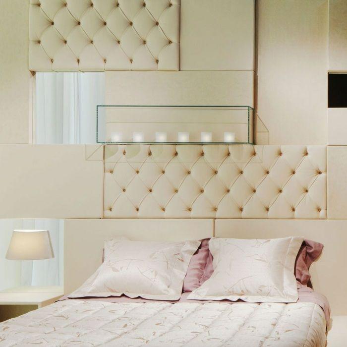 Gepolsterte Wand Paneele in verschiedenen Designs können kombiniert werden