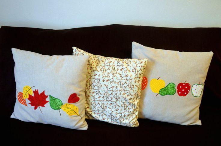 podzimní polštáře; autumn pillows with applique