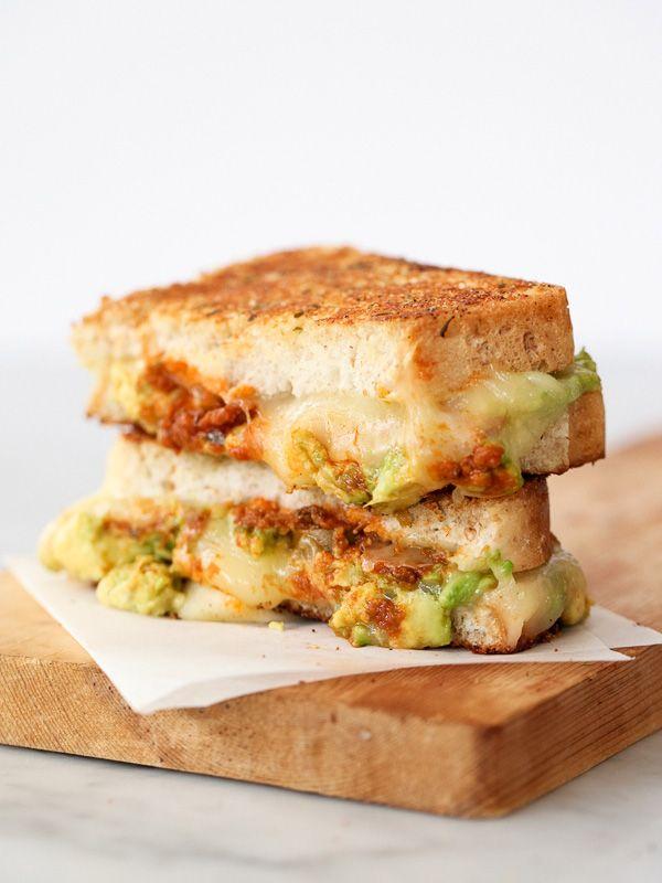 Garlicky Avocado Tomato Pesto Grilled Cheese Sandwich