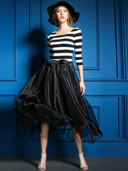 Stripe Print Paneled Organza Midi Dress #fashion #women #stylish #summer
