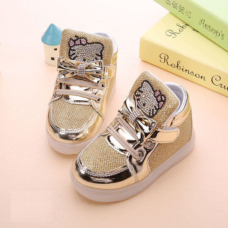 Детский мультфильм KT повседневная обувь новая сеть полые дышащая спортивная обувь девушки мигающий светодиод моды светящиеся кроссовки 21-30