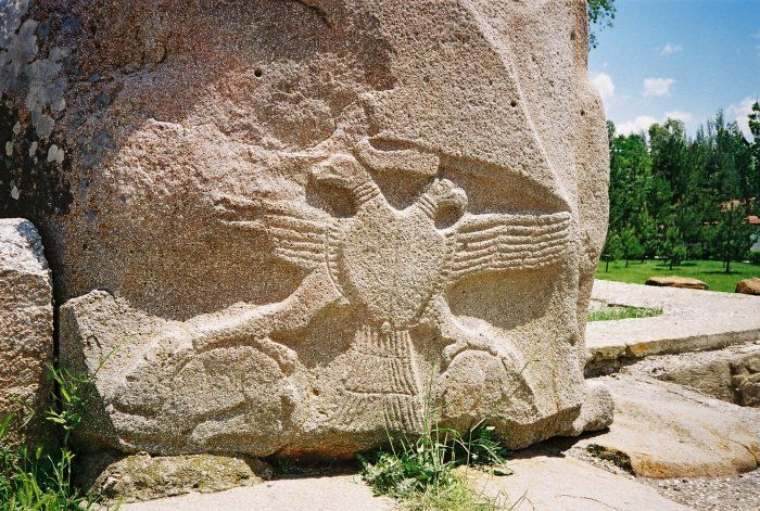 The earliest depiction of the double-headed eagle can be found on ancient on Hittite monuments in central Anatolia, in Boğazkale, an old Hittite capital in modern-day Turkey. The double-headed eagle motif originally dates from c. 3800 BC. The Hittites had worshiped the double headed eagle as the King of Heaven, who was also called the Hittite Bird of the Sun. The bird was their symbol to signify Hittite military power.