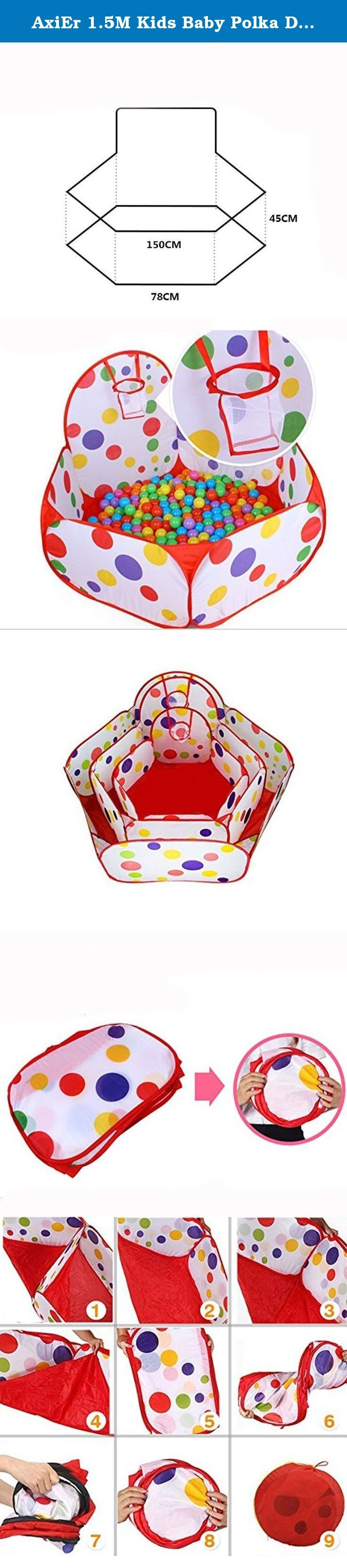 AxiEr 1.5M Kids Baby Polka Dot Cute Ocean Ball Pool Outdoor Indoor Game Play Toy Tent Hut Easy Fold Ball Pit Tent with Basketball Hoop. Playtime is a Pleasure in this Polka Dot Kids's Playpen Give your little one a place to play in peace with this adorable and ultra-convenient little polka dot playpen. Its twist-to-open technology makes it a breeze to set it up and break it down in just a few seconds without any frustrating ties or snaps to have to worry about. Meanwhile, its cheery…