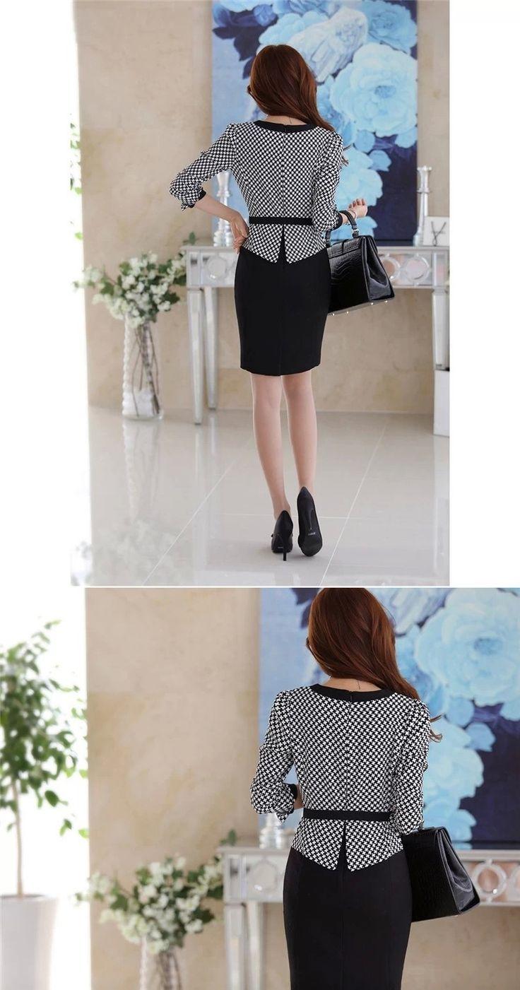 2015 New Arrival coreano mulheres outono inverno vestido V Neck manga comprida xadrez elegante vestido de escritório vestido trabalho terno de negócio em Vestidos de Das mulheres Roupas & Acessórios no AliExpress.com | Alibaba Group