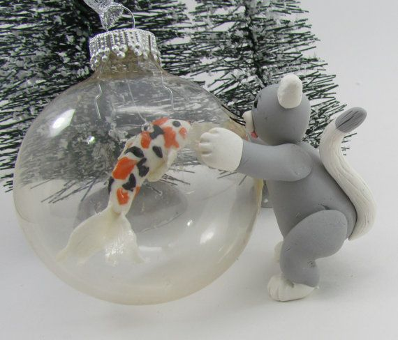Koi fish and kitty ornament creative ornaments and etsy for Koi fish ornament