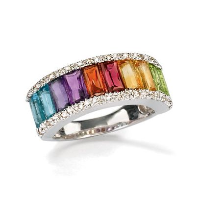 If you could only wear one color for the rest of your life which color would it be? With multi-gem jewelry you don't need to decide! You can wear all the shades of the rainbow together.  >>Click on the mixed gem ring for more multi-gemstone jewelry styles.