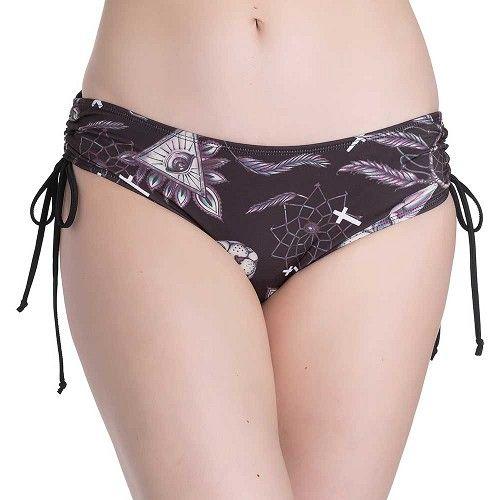 Arcane bikini zwembroek met sphynx katten, kuizen en veren print zwart - Gothic Emo Rock - XS - Spin Doctor