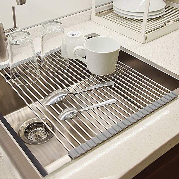Dish Drying Rack Veeape 304 Stainless Steel Roll Up Dish Drainer