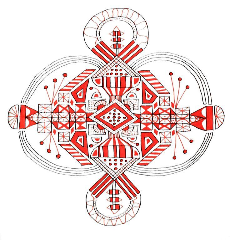 Inka//South America #mandala #inka #red #patterns #symmetry #south american style #amulet #anscient #handmade #art #drawing #selfmade