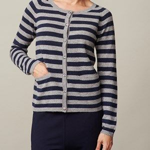 AIDA cardigan with stripes, light grey melange/dark blue stripes. A classic cardigan with 20mm wide stripes. Made by the softest sustainable eco Italian wool. Original Liberty fabric is used for details in the neck and on the buttons.