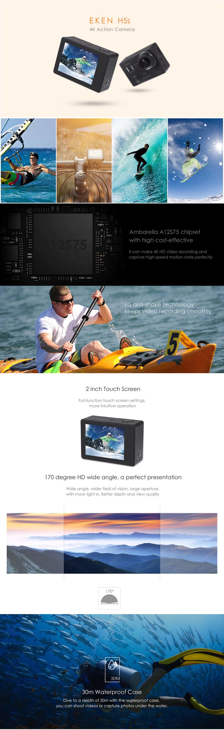 The EKEN H5S 4K action camera will bring you ultra high-definition photos and smooth videos with EIS anti-shake technology, perfect for cycling, skiing, surfing, diving, climbing, etc. WiFi function and 2.4G remote allow you to self-capture in a more convenient way. Records every wonderful moment in your life!