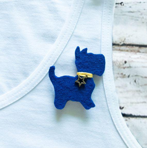 Handmade Felt Dog Brooch Jewelry Pin Badge navy blue by Jousilook