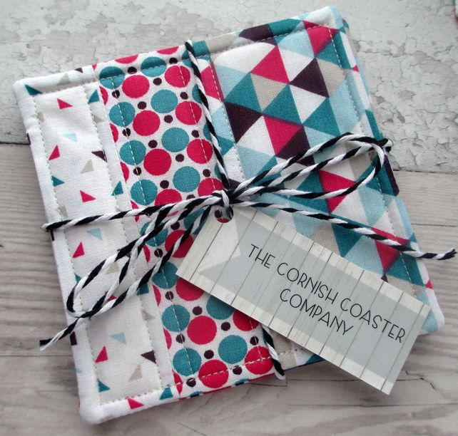 Quilted Coasters - Patchwork Coasters - Geometric Fabric Coasters £12.00