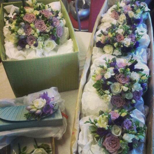 Lilac purple and Ivory bridal flowers