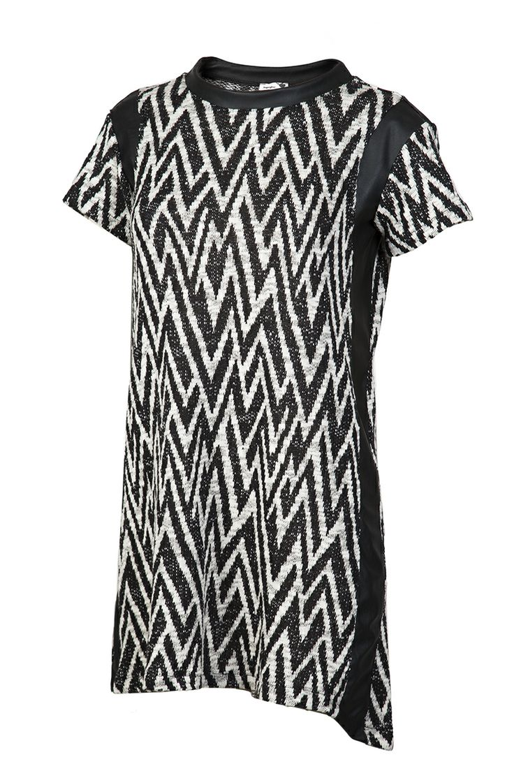 PRINTED DRESS WITH LEATHER PANELS