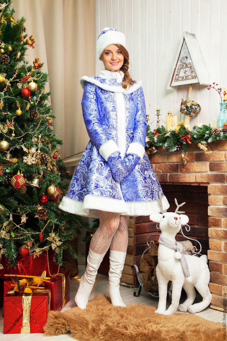 Купить Костюм Снегурочки (взрослый) - голубой, костюм снегурочки, снегурочка, костюм для аниматора, новогодний костюм