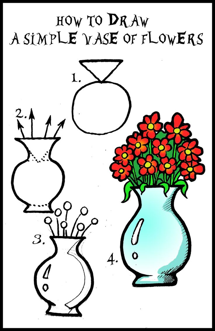 Draw Flowers  Daryl Hobson Artwork: How To Draw A Vase Of Flowers Step By