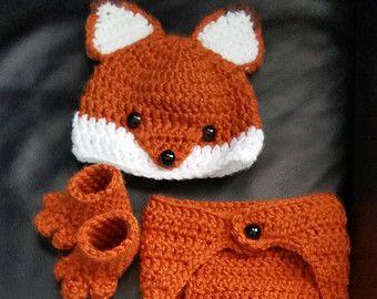 Haak pasgeboren meisje of een jongen Woodland Fox Costume - Foto Prop - Beanie Hat, Diaper Cover , en laarsjes . Handgemaakte & Homemade
