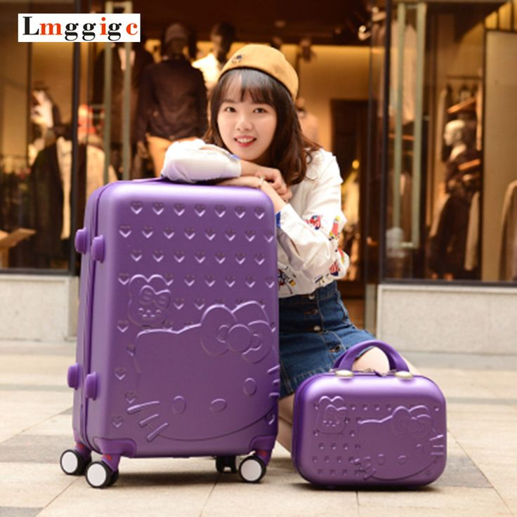 Hello Kitty Luggage Set,Gift for Child and Women,Lightweight Suitcase,Colorful ABS Carry-Ons,Travel Box,Rolling Trolley Hardcase