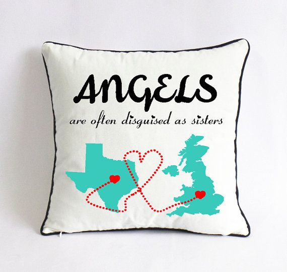 teal Texas UK state pillow-long distance sister by Pillow6218
