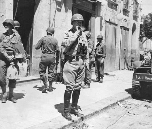George Patton in Gela, Sicily, Italy, July 1943.